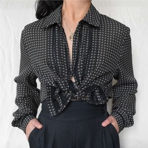VTG 80s geometric polka dot and lace button down